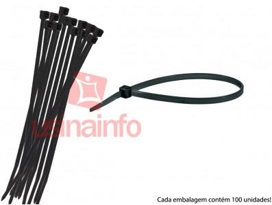 Abraçadeira de Nylon 3,6x250mm - Preta- Kit com 100 unidades