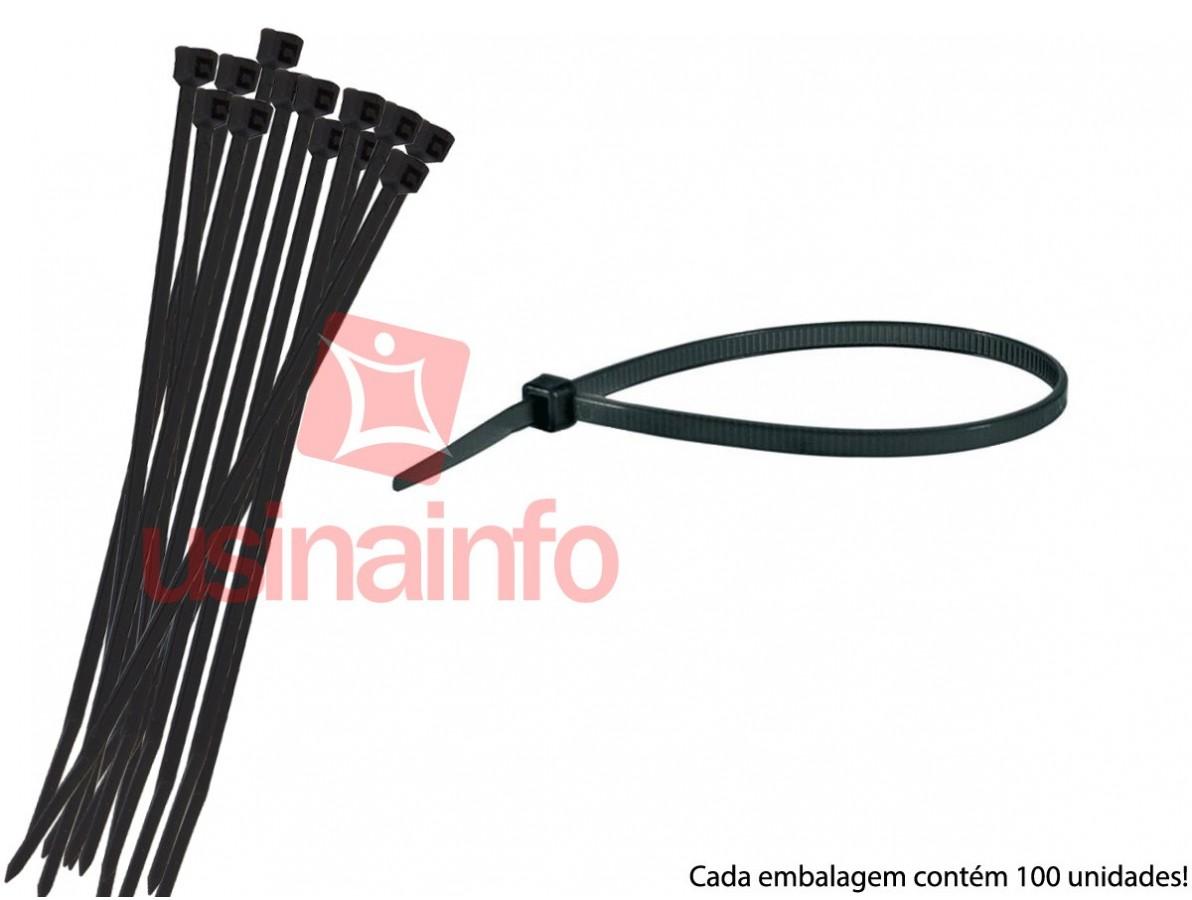""""""" Enforca Gato """" / Abraçadeira de Nylon 3,6x250mm - Preta- Kit com 100 unidades"""