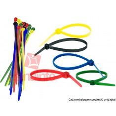 Abraçadeira de Nylon 2,5x200mm - Colorida - Kit com 50 unidades