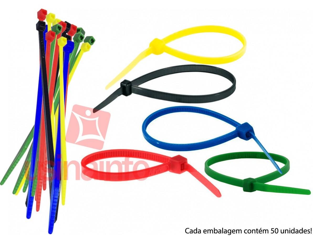 "Abraçadeira de Nylon "" Enforca Gato "" 2,5x200mm - Colorida - Kit com 50 unidades"
