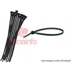 Abraçadeira de Nylon 2,5x150mm - Preta- Kit com 100 unidades