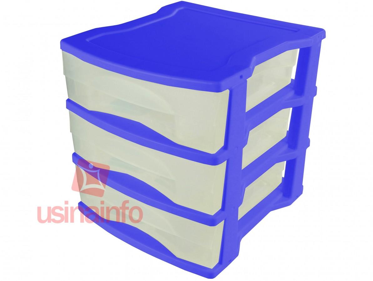Gaveteiro de Plástico / Organizador com 03 Gavetas - P