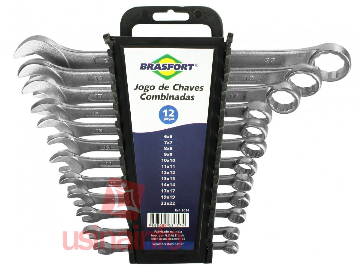 Jogo de Chaves Combinadas 6 a 22mm Brasfort - Kit com 12 peças