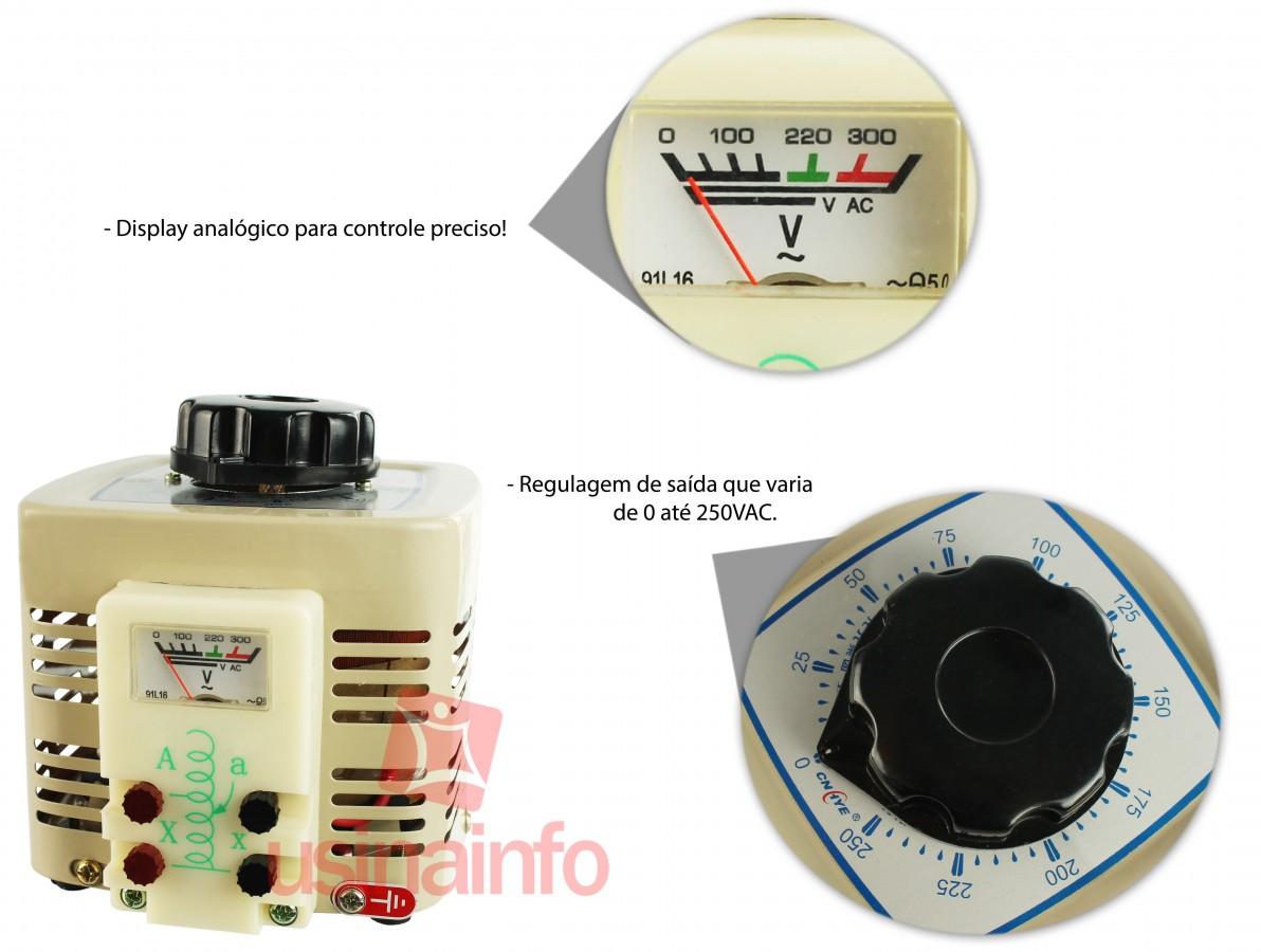 Variac - Regulador de Tensão 0-250VAC 500W