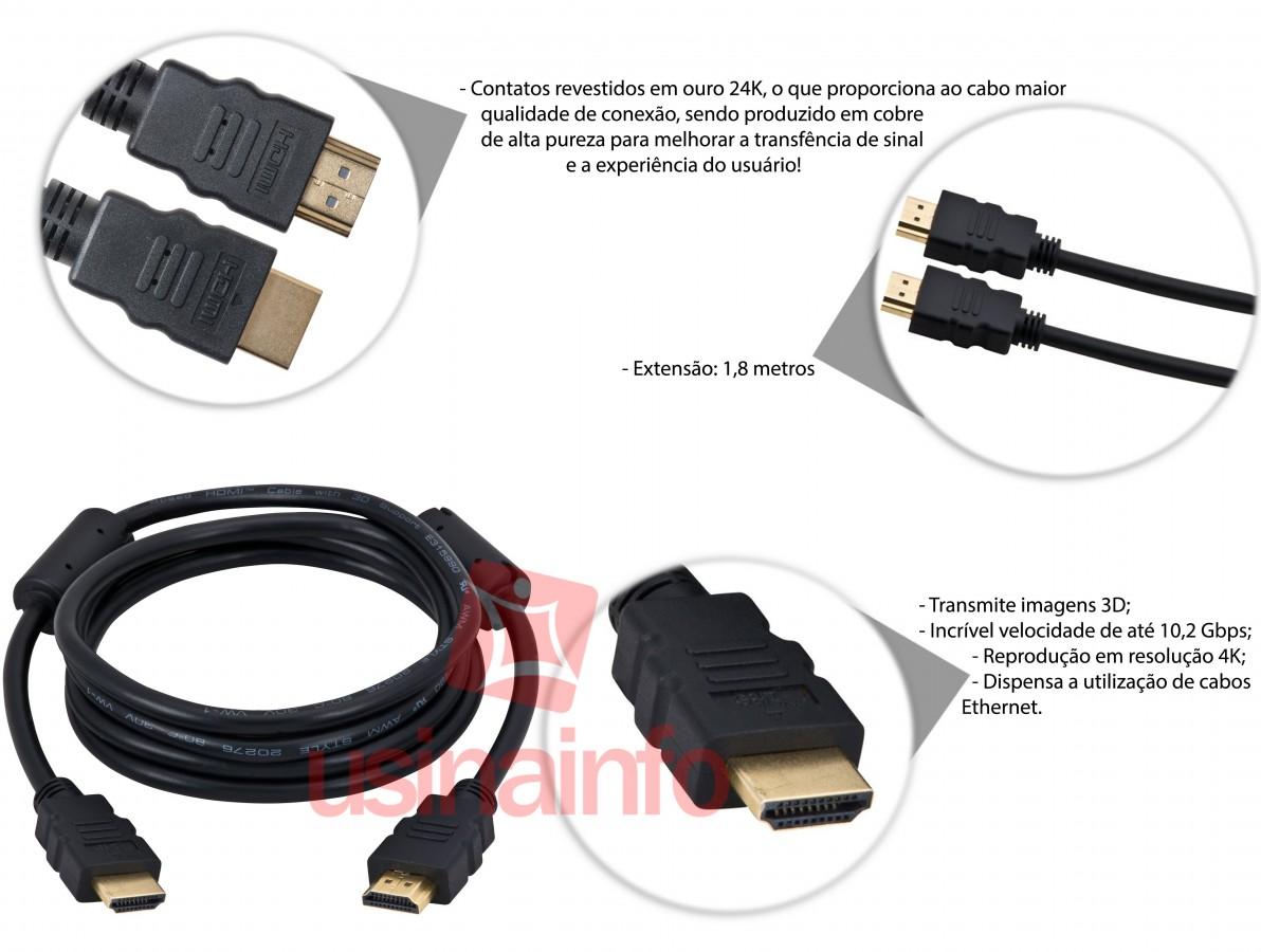 Cabo HDMI 1.4 3D 1,8m com Filtro Magnético - Lite