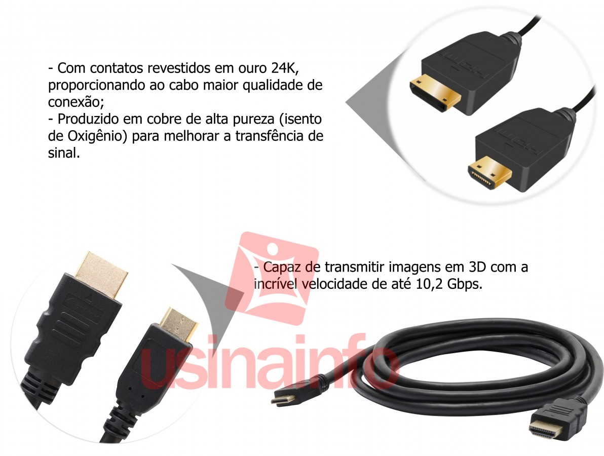 Cabo Mini HDMI para HDMI 1.4 3D 2m - Fortrek