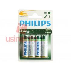 Pilha AA 1,5V Pequena de Zinco Carbono Philips - Kit com 4 unidades