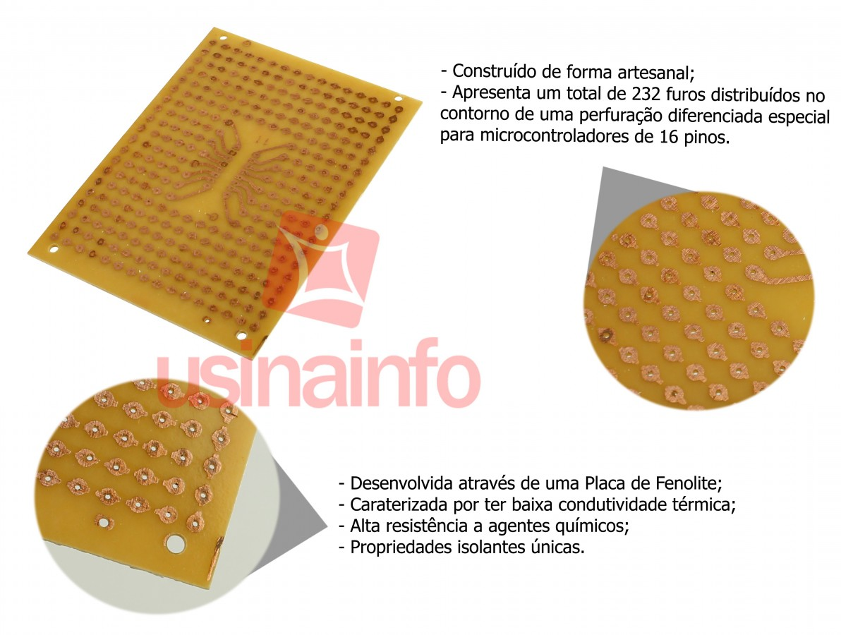 Placa de Circuito Impresso Ilhada / Placa para Microcontrolador 16 Pinos 232 Furos - Modelo Artesanal 9x11 cm