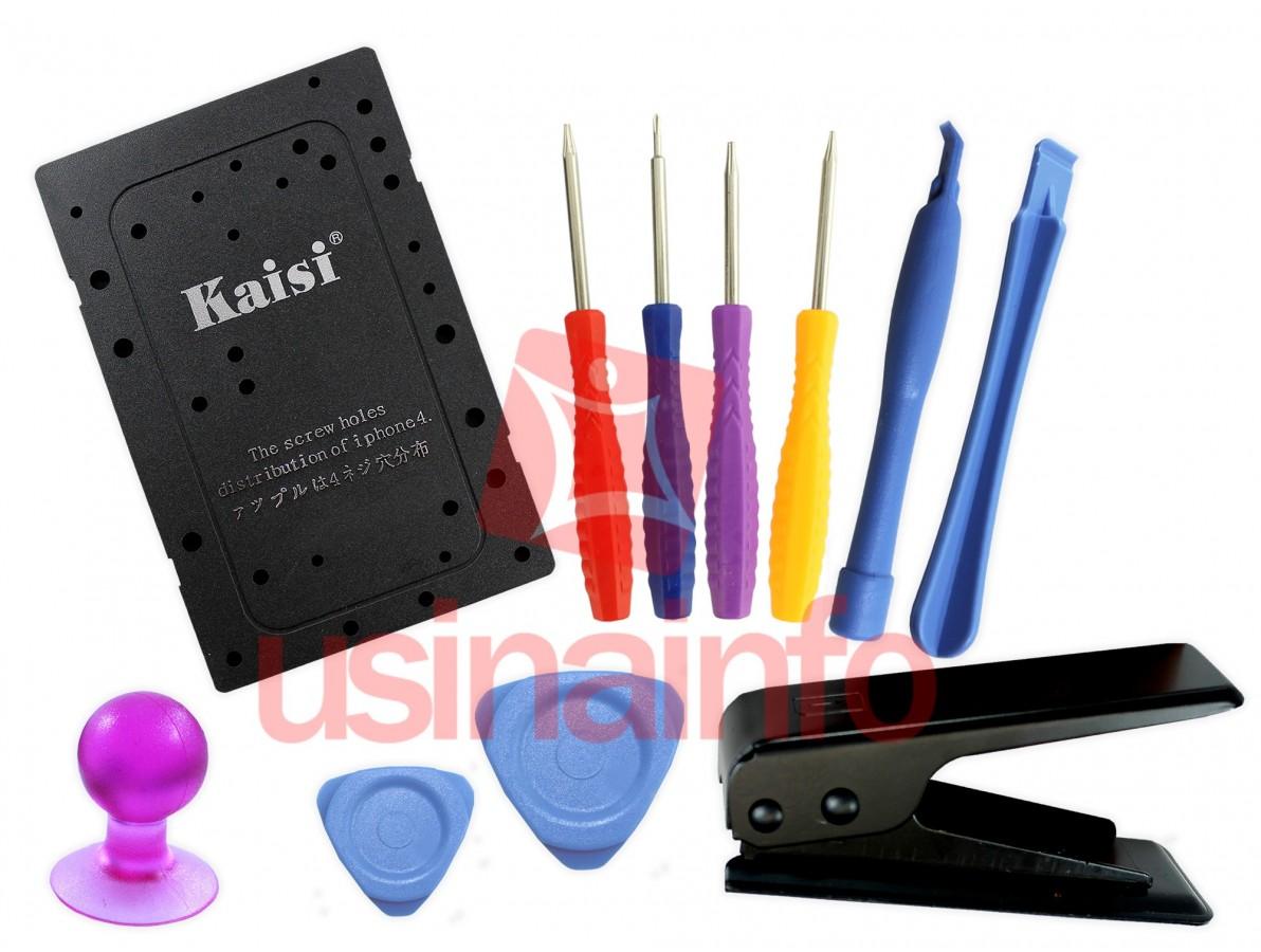 Jogo de Chaves para Manutenção em iPhone, iPad, PSP e Smartphones + Cortador de chip Micro (SIM) - K1808