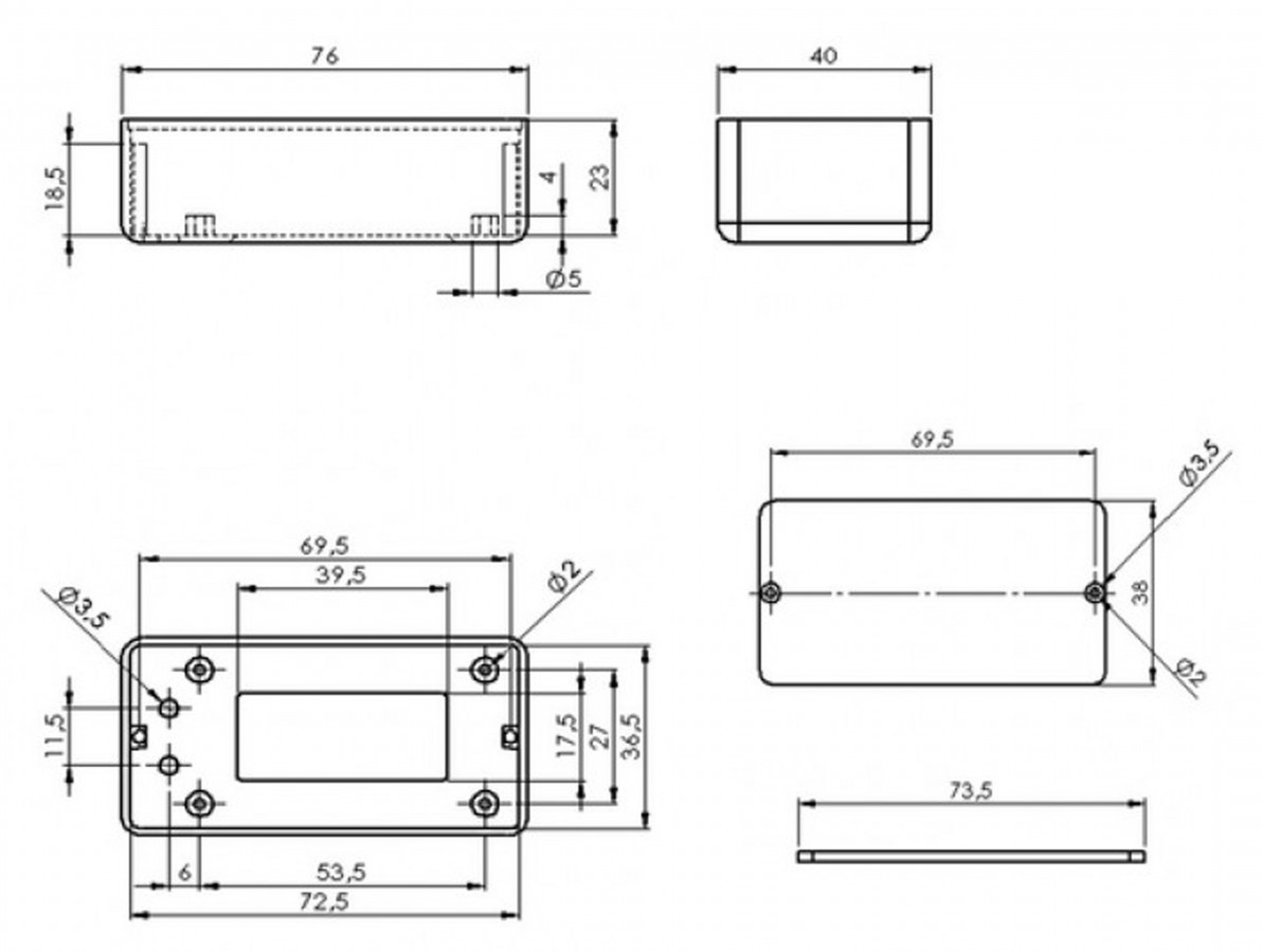 Caixa Patola / Case para Montagem 25 x 39 x 75 mm - PB-008