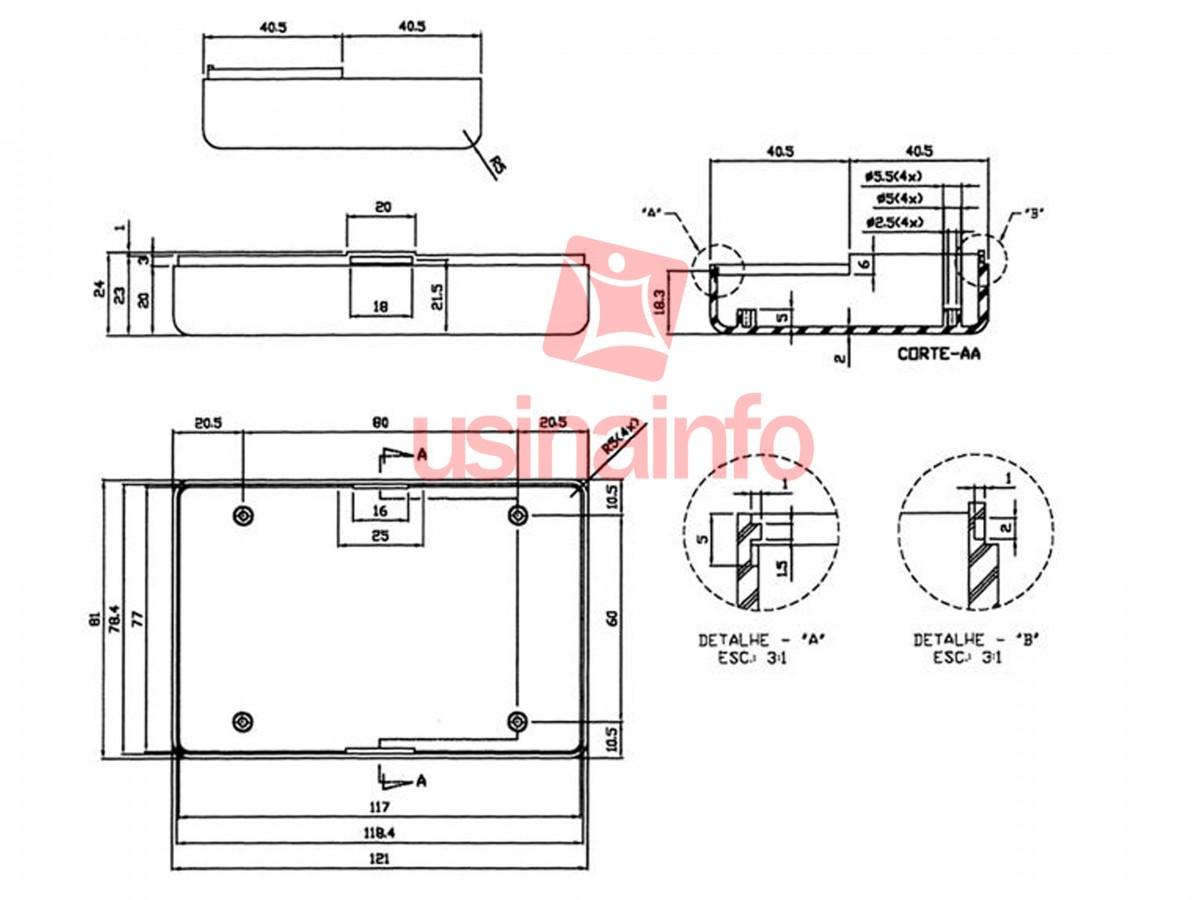 Caixa Patola / Case para Montagem 40 x 81 x 121 mm - PB-605