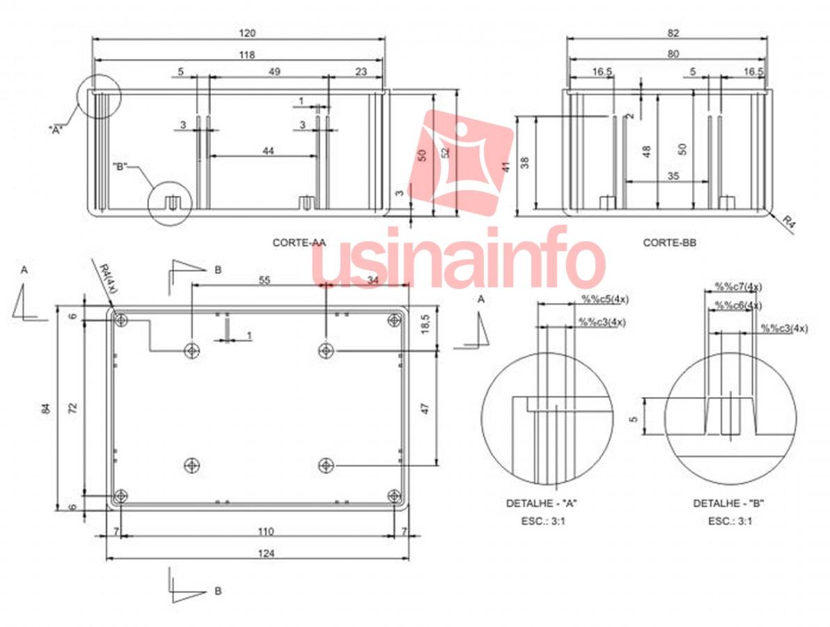 Caixa Patola / Case para Montagem 53 x 85 x 124 mm - PB-112