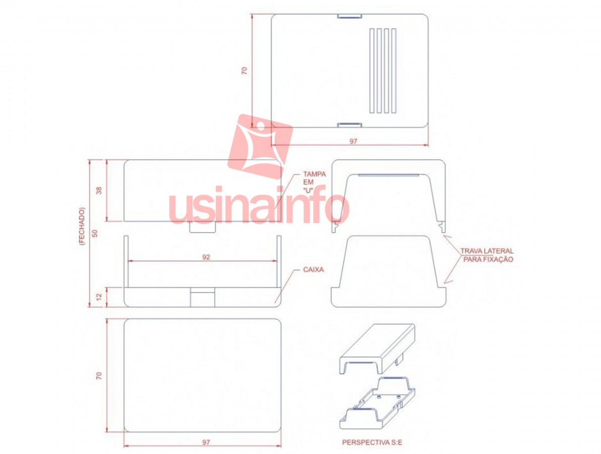Caixa Patola / Case para Montagem 53 x 70 x 98 mm - PB-202/2