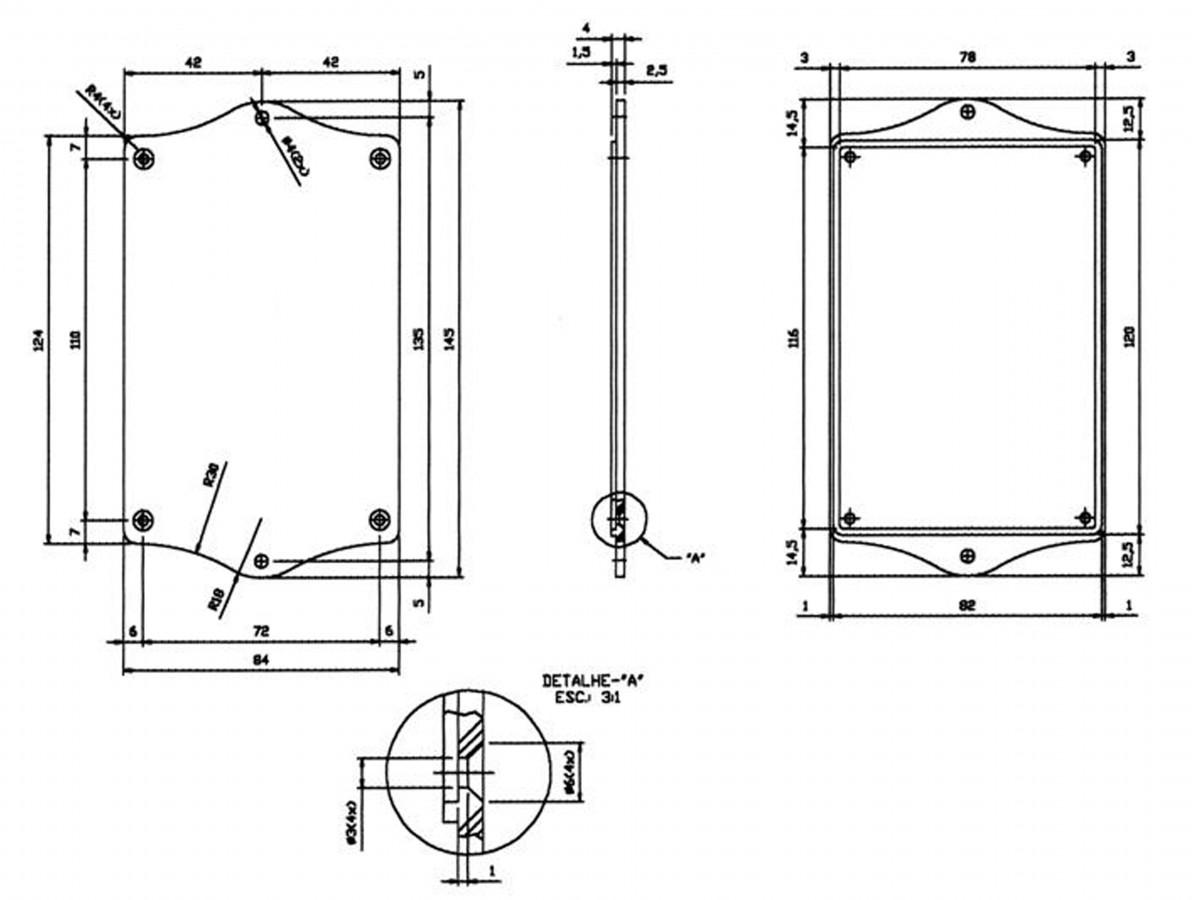 Caixa Patola / Case para Montagem 38 x 85 x 145 mm - PB-112/2 TE
