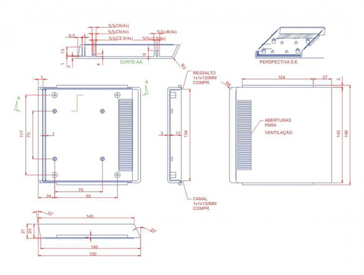 Caixa Patola / Case para Montagem 40 x 140 x 149 mm - PB-205
