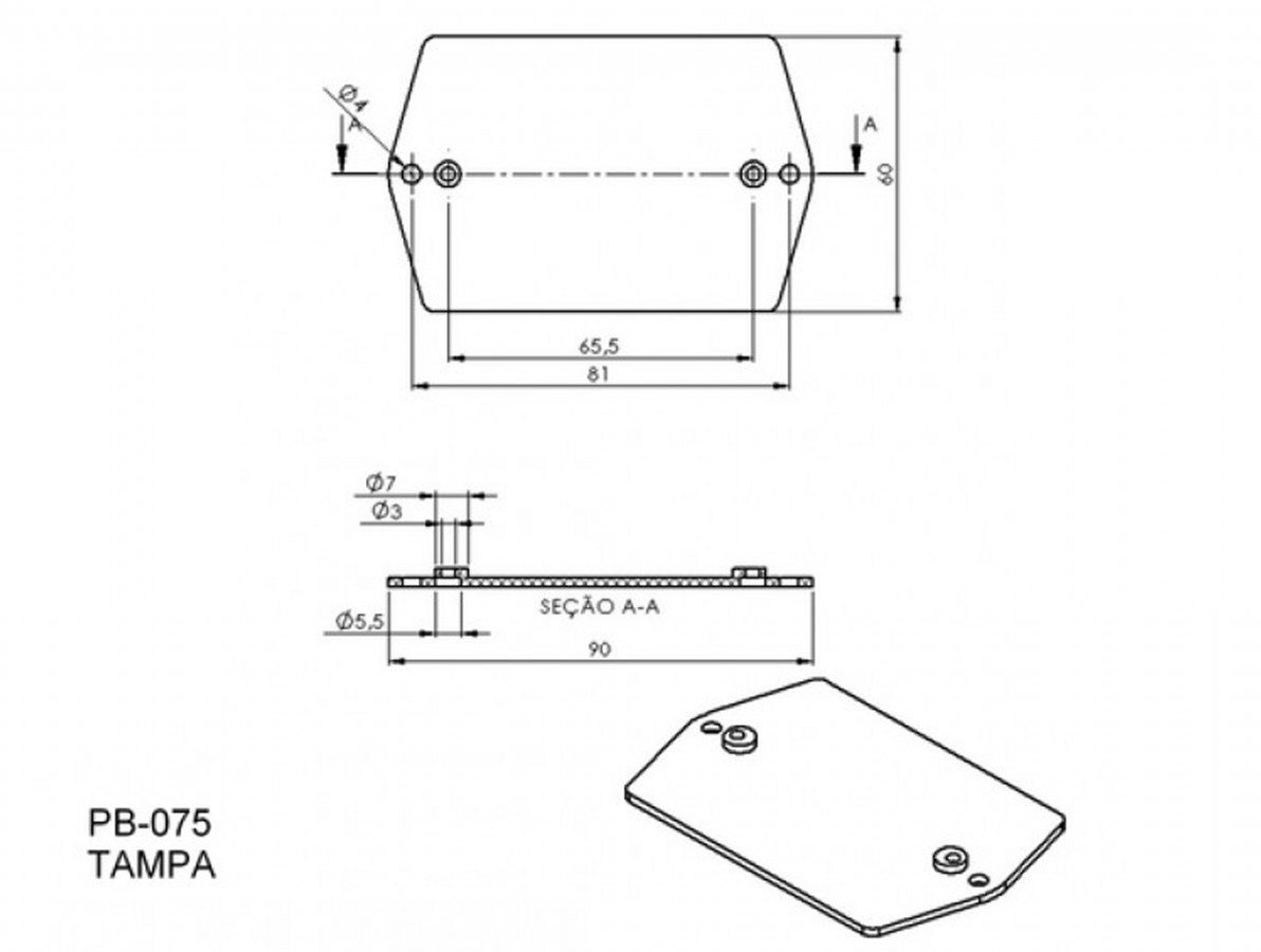Caixa Patola / Case para Montagem 36 x 60 x 90 mm - PB-075