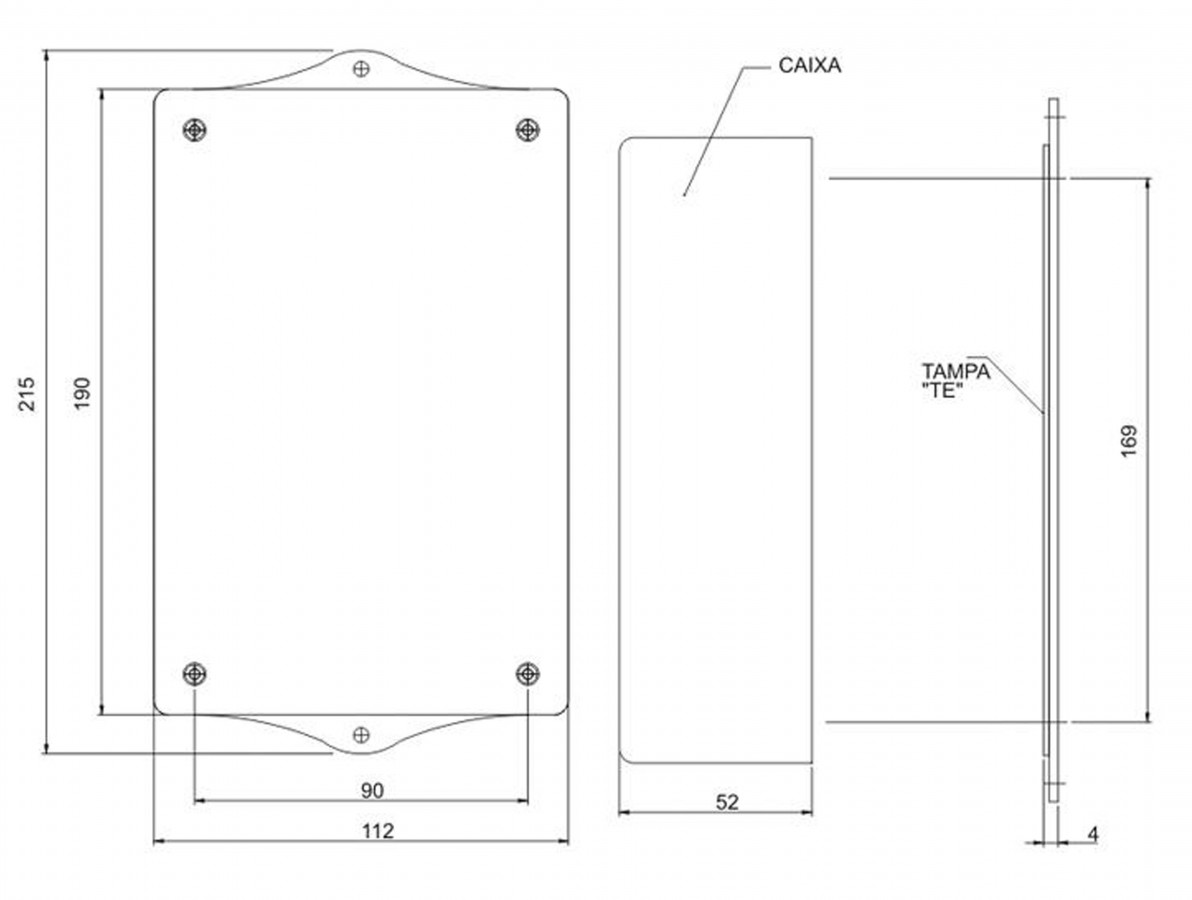 Caixa Patola / Case para Montagem 54 x 112 x 215 mm - PB-119/2 TE