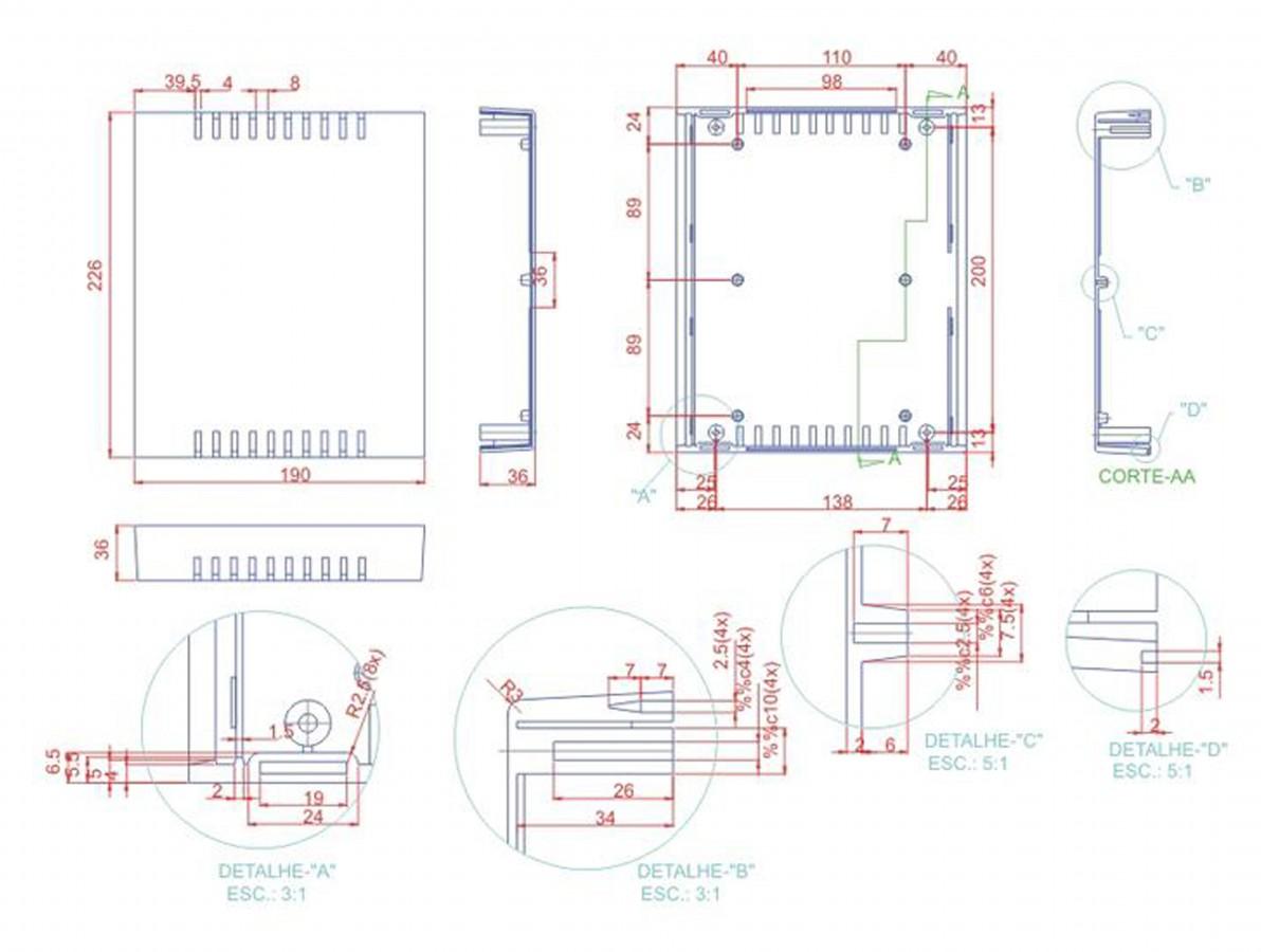 Caixa Patola / Case para Montagem 71 x 228 x 190 mm - PB-220/70