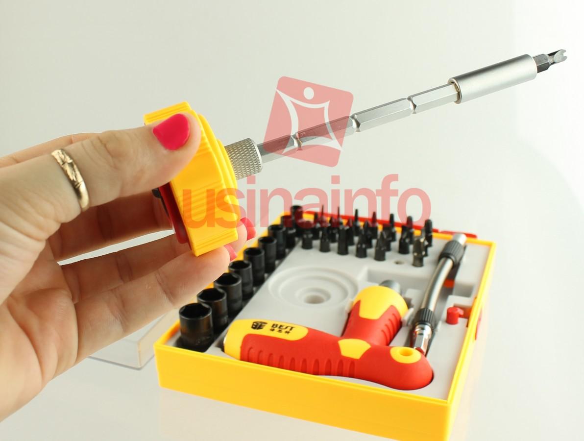 Kit de Chaves Profissional 34 em 1 com Alongador e Catraca - Torx / Allen / Canhão / Fenda / Philips / Outras
