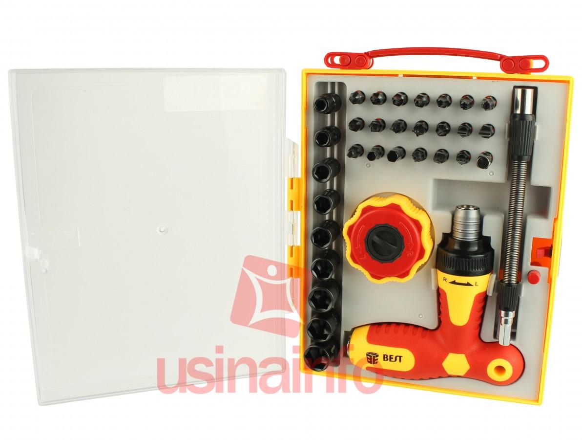 Kit de Chaves Profissional 34 em 1 com Alongador e Duas Catracas - Torx / Allen / Canhão / Fenda / Philips / Outras