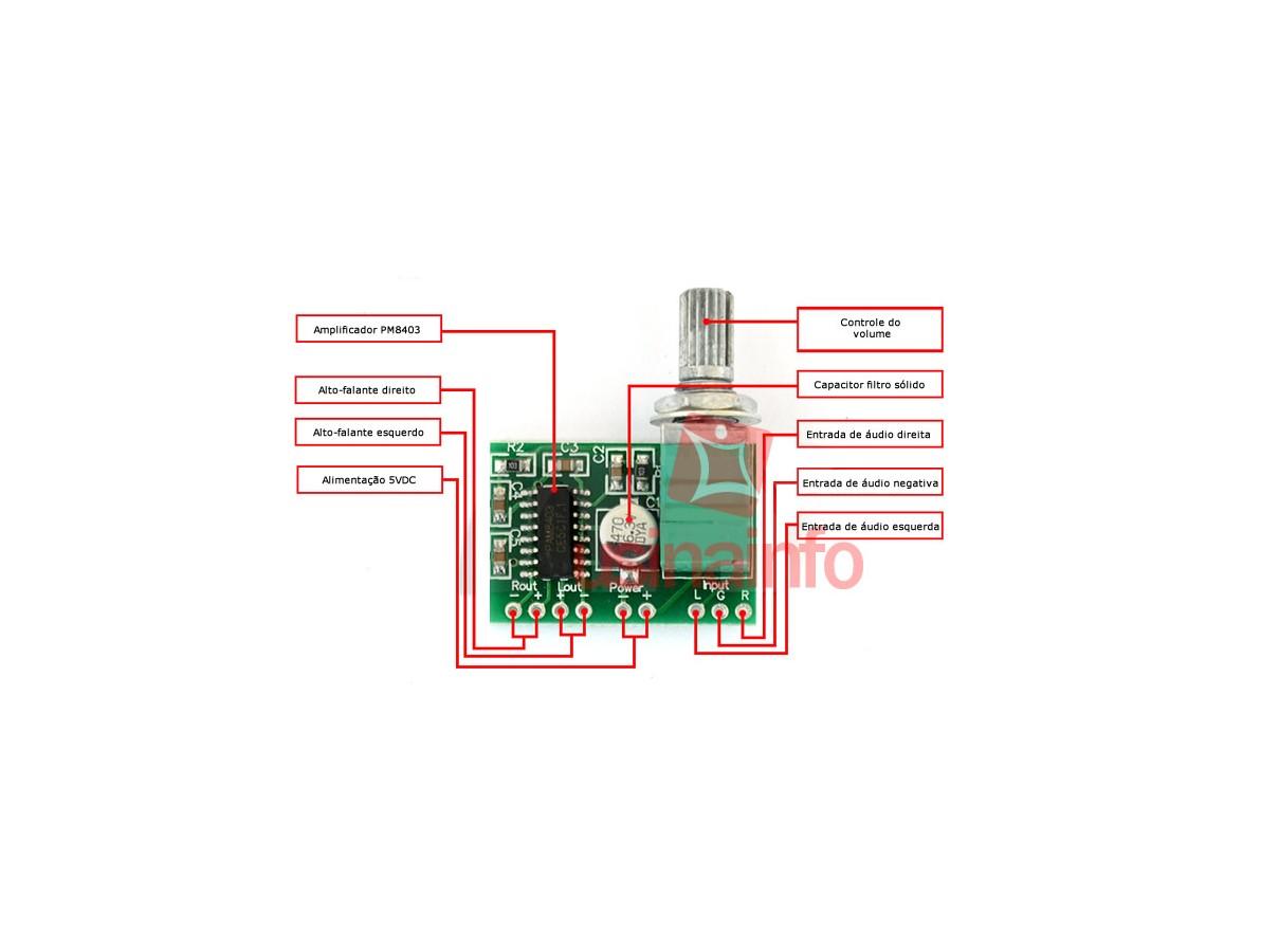 Placa Amplificador de Som Estéreo PAM8403 2 canais 3W + 3W com Ajuste de Volume