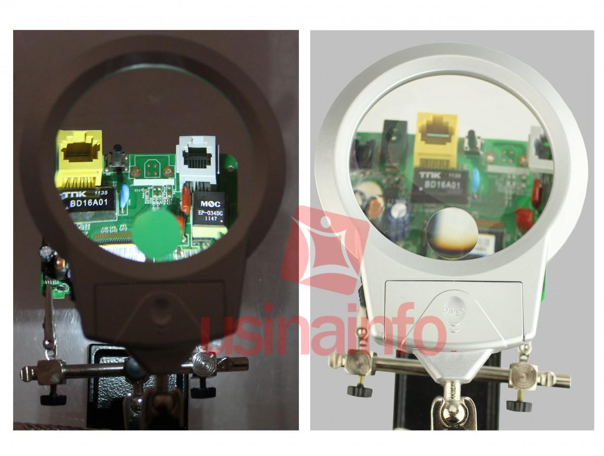 Lupa com Suporte Terceira Mão e Iluminação em LED Zoom 3X 8X - Solver