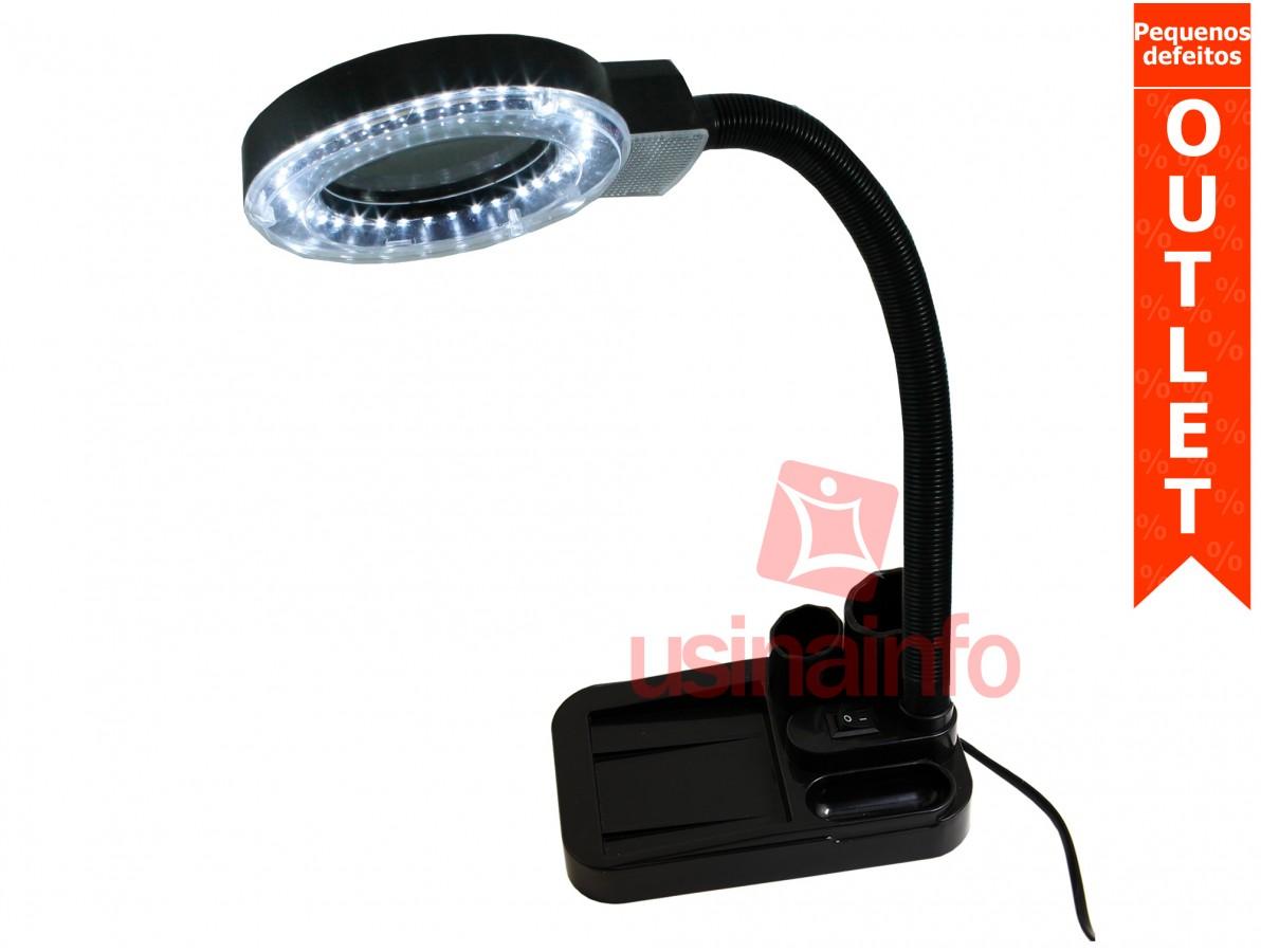 Lupa de Bancada Articulável com Lente Bifocal de 5x e 20x e Iluminação LED - Yaxun 138A Bivolt 127V/220V (Pequenos defeitos)
