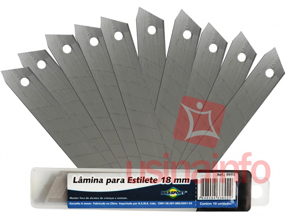 Lâmina para Estilete 18mm Brasfort - Kit com 10 unidades