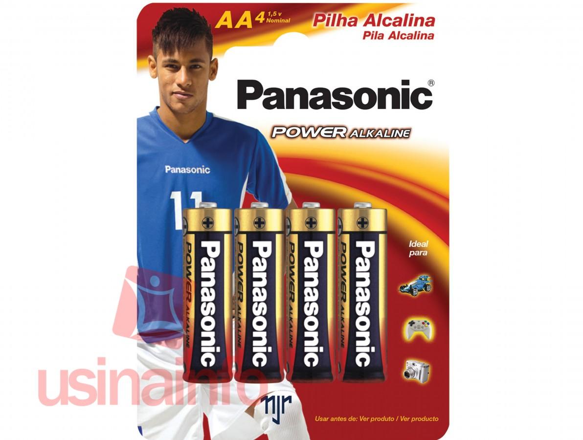 Pilha Alcalina AA 1,5V Panasonic - Kit com 4 unidades