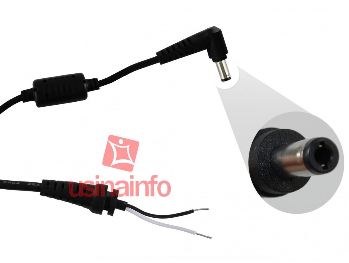 Cabo de reposição para carregador (fonte) de notebook Positivo / Lenovo / LG / MSI - (5.5 x 2.5mm)