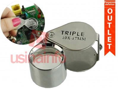 Lupa de Bolso com Slot para Armazenagem - Zoom 10X 17mm - (Pequenos defeitos)