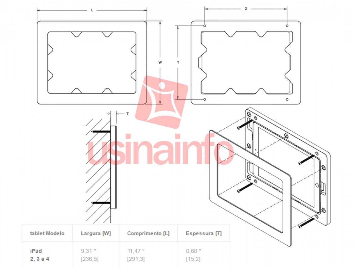 Suporte de Parede para iPad 2, 3 e 4 - Modelo Luxo para Automação Residencial - Parland