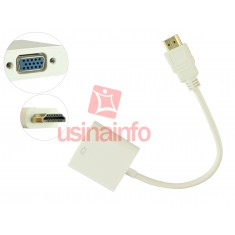 Adaptador HDMI para VGA com Chip Conversor Integrado - Branco
