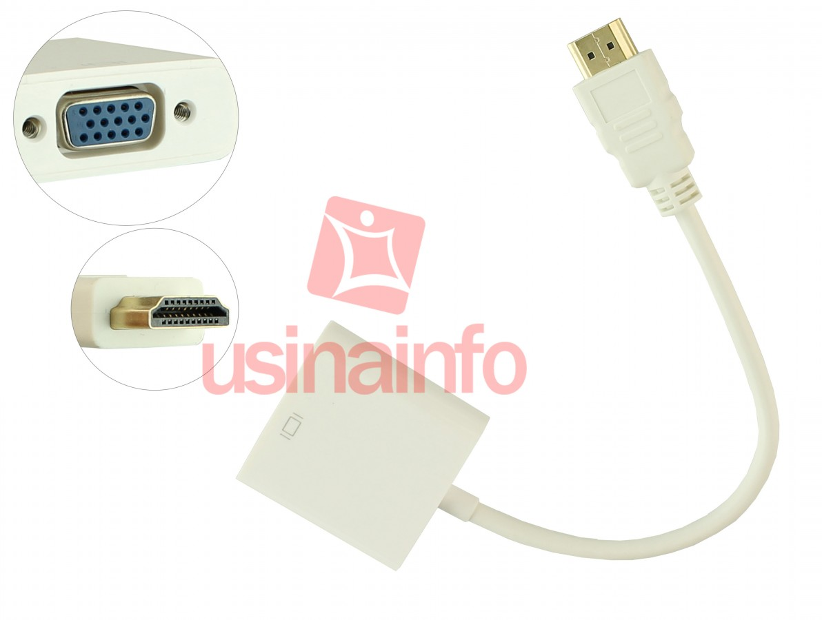 Adaptador HDMI para VGA com Chip Conversor Integrado - Branco