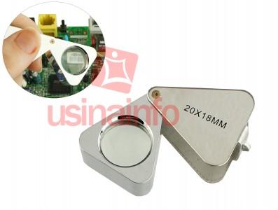 Lupa de Bolso com Slot para Armazenagem - Zoom 20X 18mm