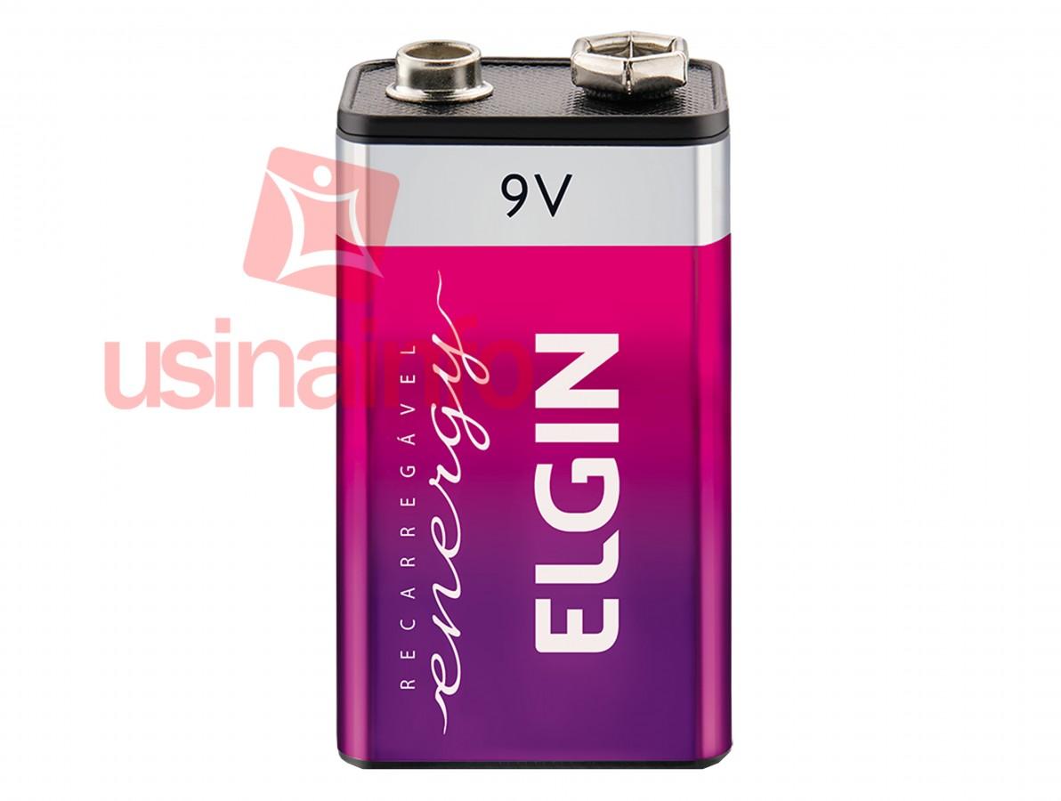 Bateria 9V Recarregável 250mAh - ELGIN