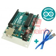Arduino UNO R3 + Base Acrílica Oficial - ORIGINAL ITÁLIA + Cabo USB