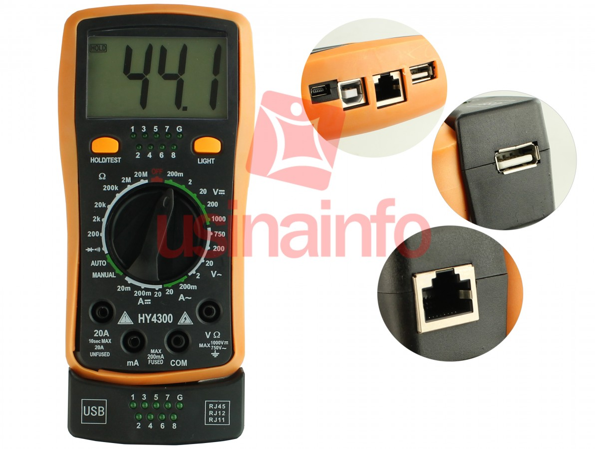 Multímetro Digital com Testador de Cabo RJ11, RJ12, RJ45 e USB - HY4300