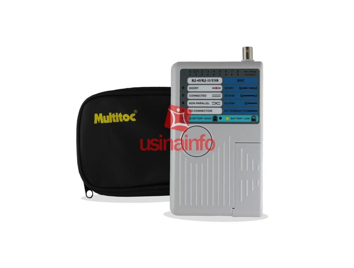 Testador de cabos RJ11 / RJ45 / USB / BNC - Multitoc MT200 (DESCONTINUADO)