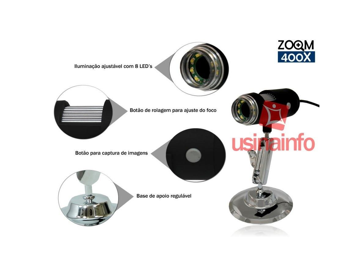 Microscópio Digital USB 5.0 Mega Pixels com Zoom de 400X - MV4005