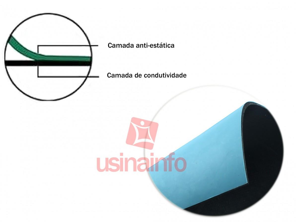Manta Antiestática ESD Azul para Bancada - 1m x 0,6m