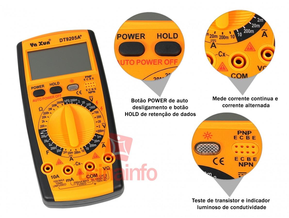 Multímetro Capacímetro Digital com 32 Escalas + Bateria 9V - DT9205A+