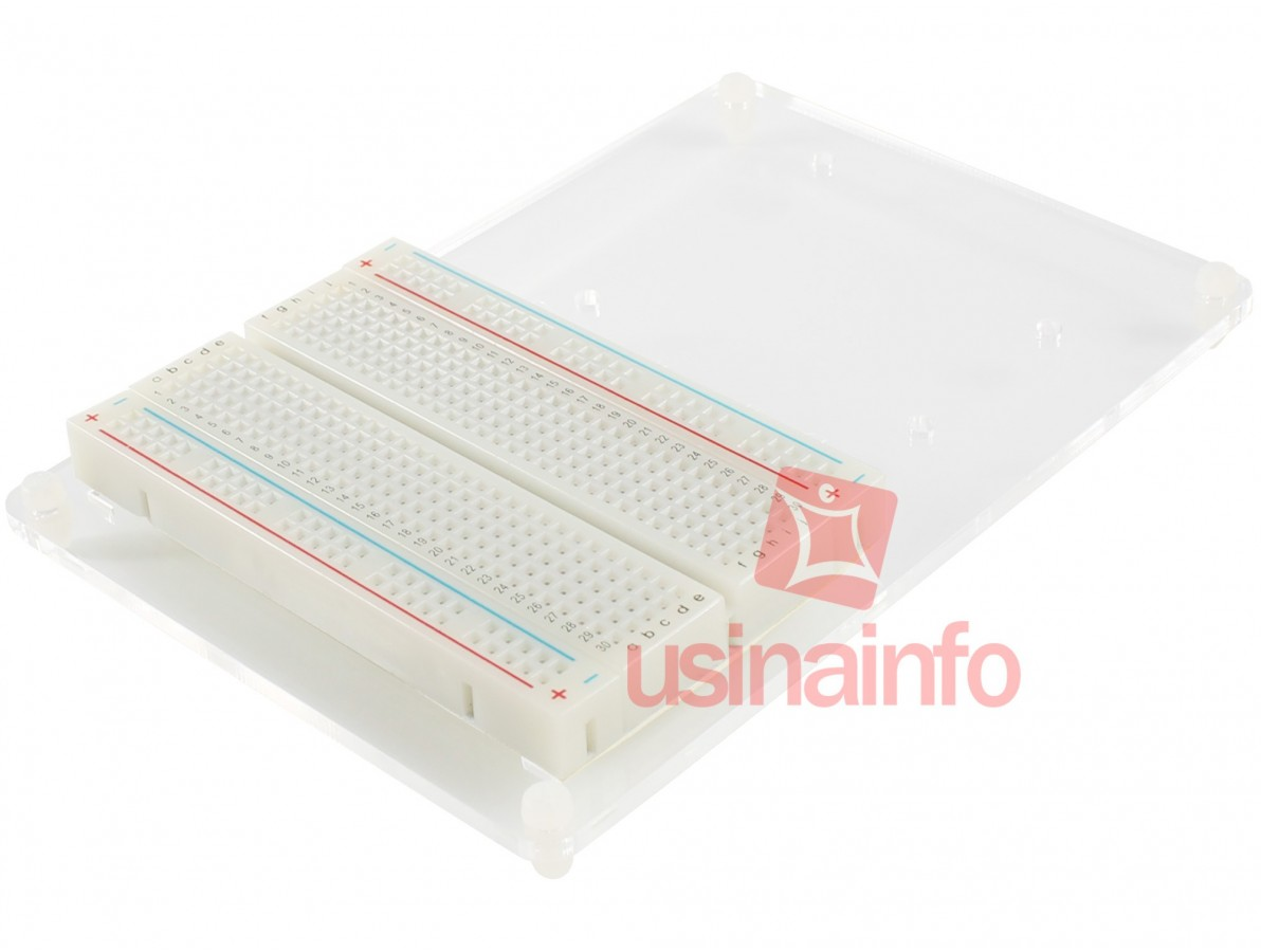 Base Acrílica Transparente com Protoboard + Parafusos para Arduino UNO