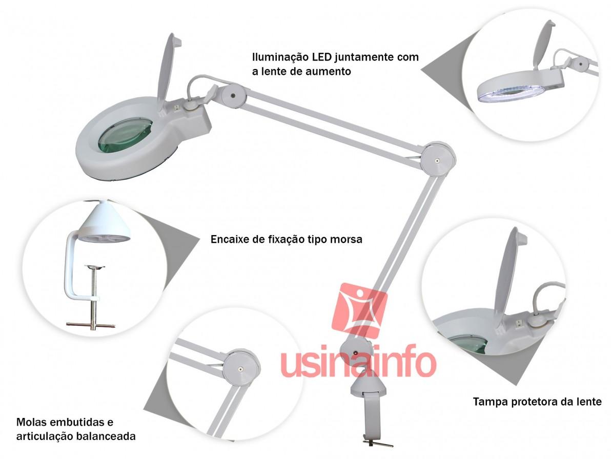 Lupa de Bancada com Iluminação LED e zoom de 8X - Solver / Hikari HL-500 (Bivolt)