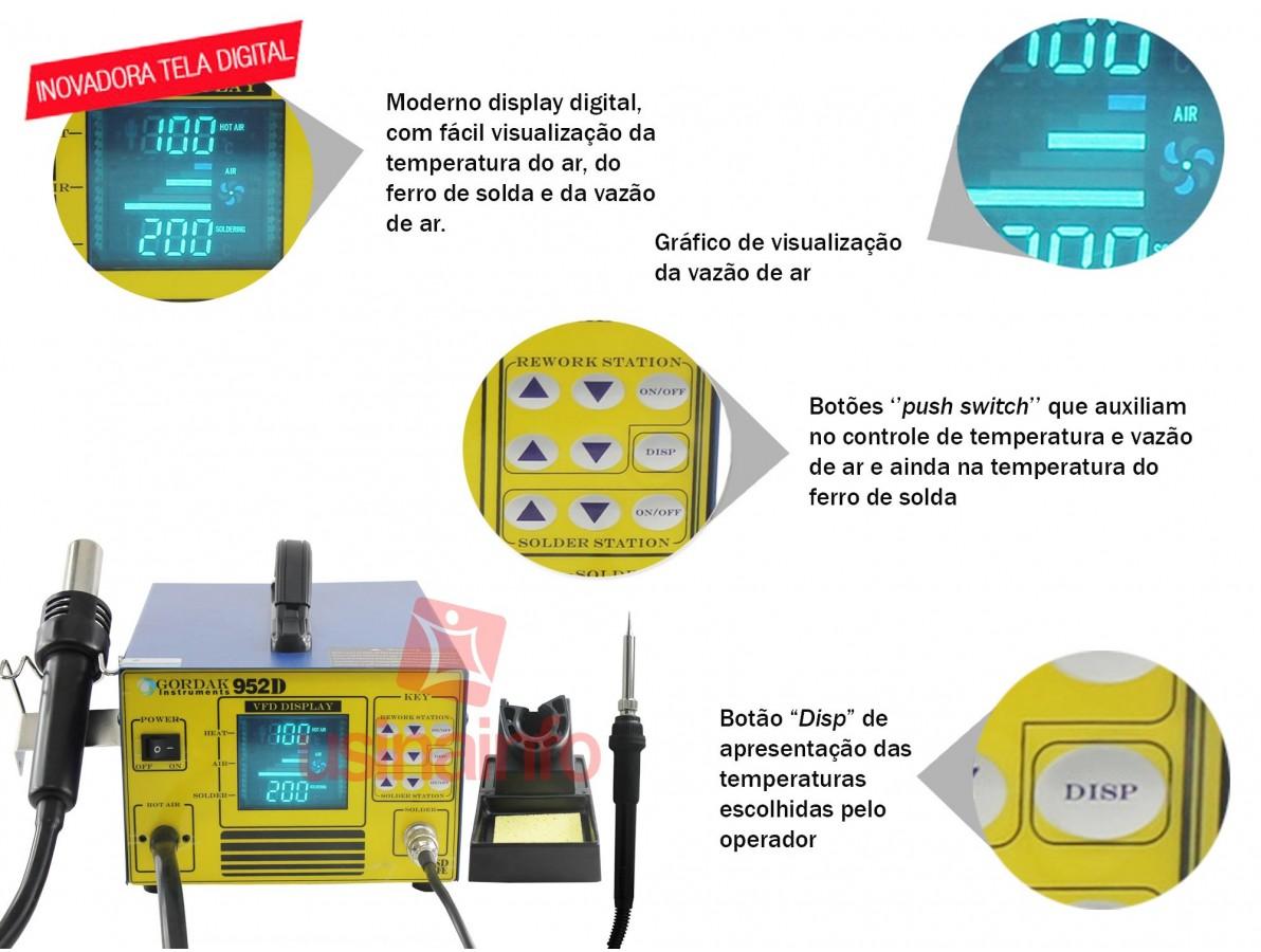Estação de Solda e Retrabalho com Display Digital - GORDAK 952D - Uso Industrial