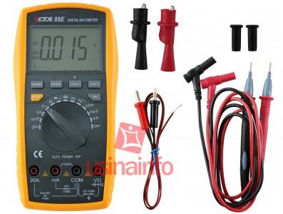 "Multímetro Capacímetro Digital Profissional Automático ""Auto Range"" - Victor 88E"