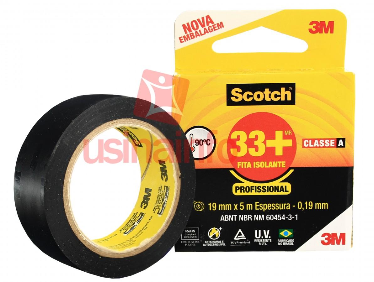 Fita Isolante 3M Scotch 33+ para uso Profissional - 19mm x 5m