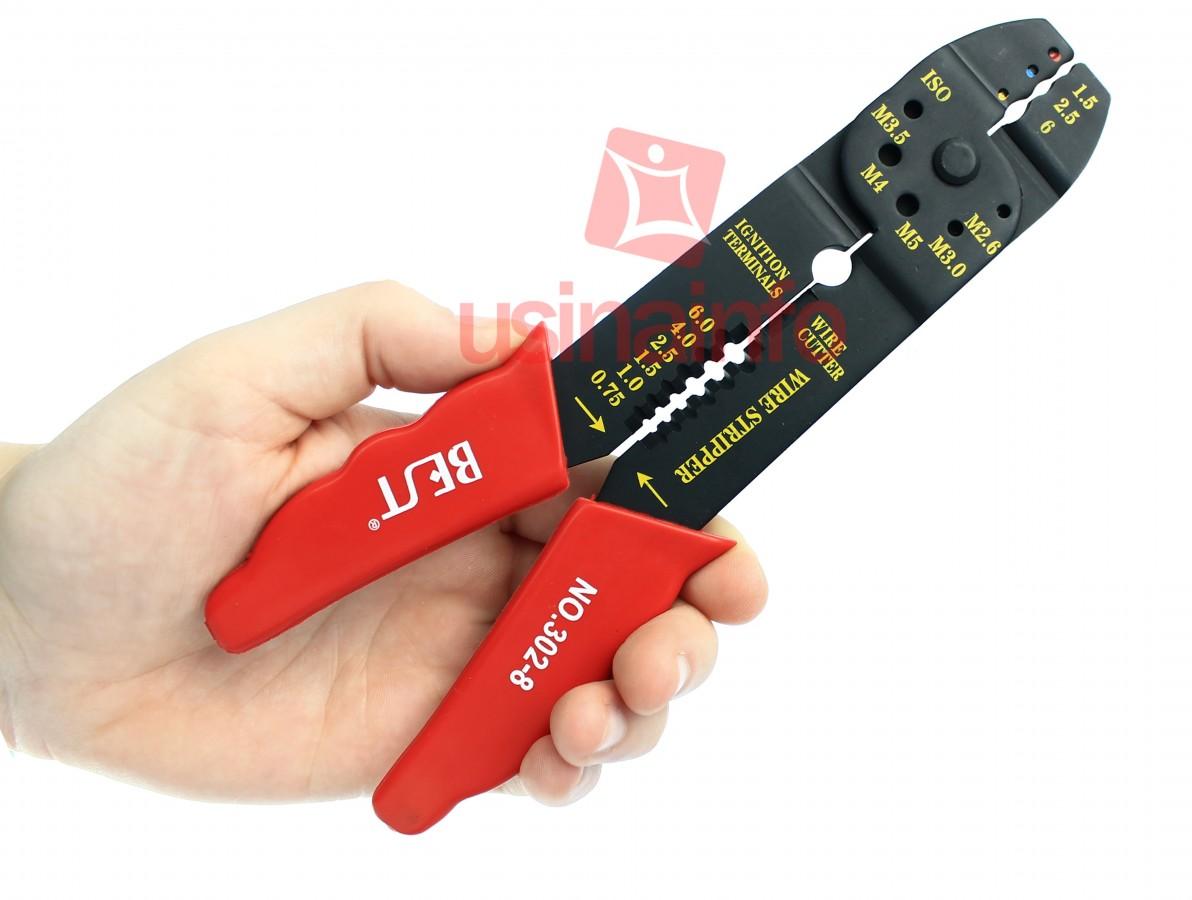 Alicate decapador de cabos, para corte e aplicação de terminais em fios e cabos - Best 3028