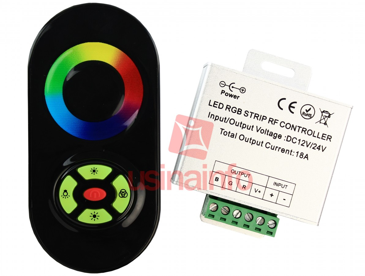 Controlador RGB / Controlador de iluminação LED com controle remoto capacitivo