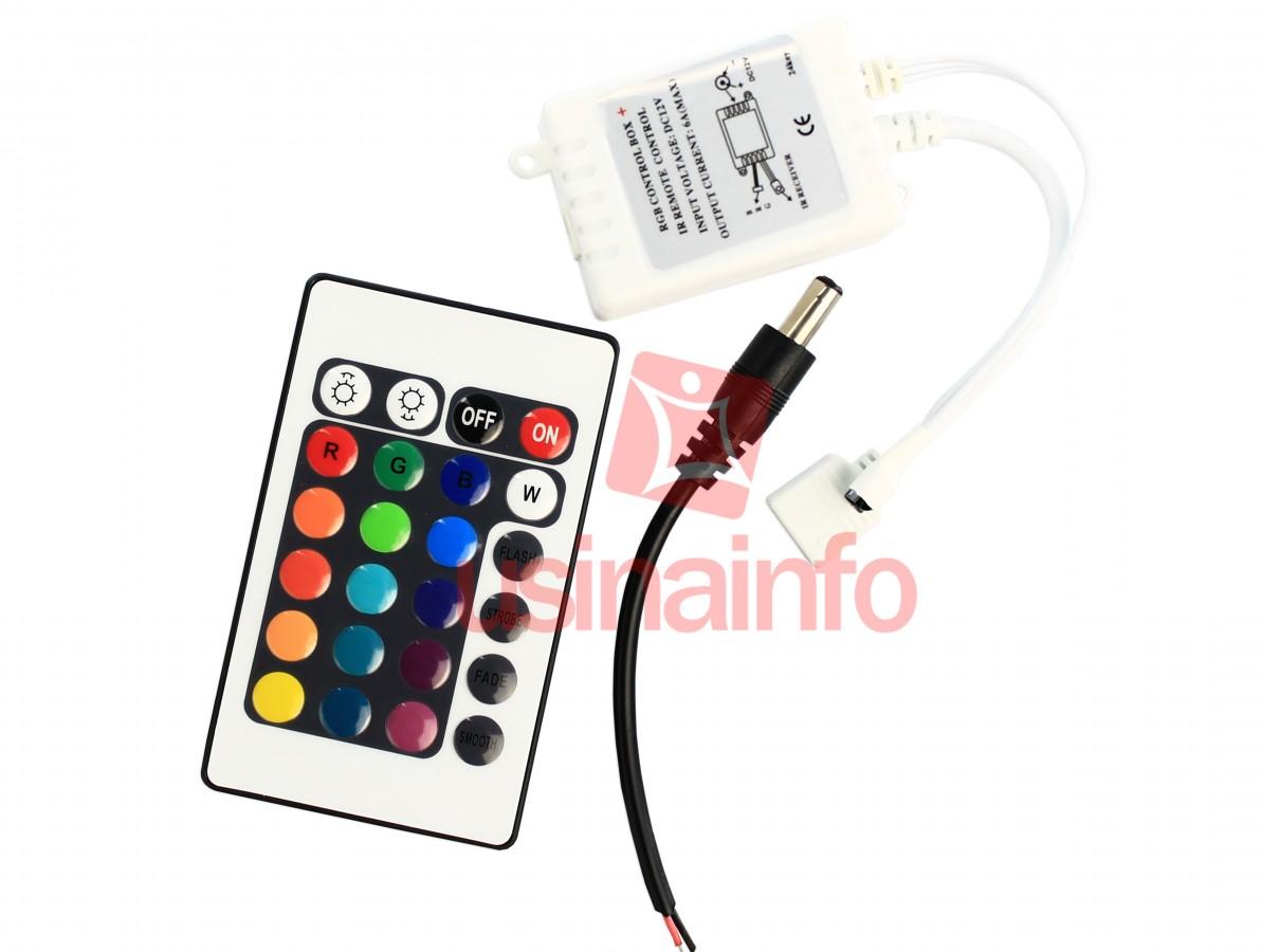 Controlador RGB / Controlador de iluminação LED com controle remoto infravermelho
